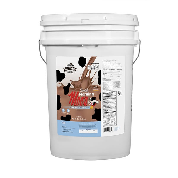 Augason Farms Chocolate Morning Moo's Low Fat Milk Alternative 6-gallon Pail