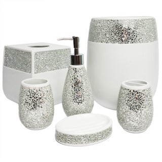 Silver Cracked Glass and Ivory Hand Crafted Bath Accessory Collection ...