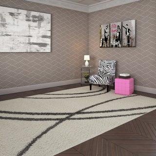 Soft Cozy Contemporary Stripe Cream White Indoor Shag Area Rug (7'10 x 10')