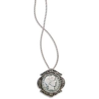 Silvertone Barber Half Dollar Marcasite Coin Pin Pendant