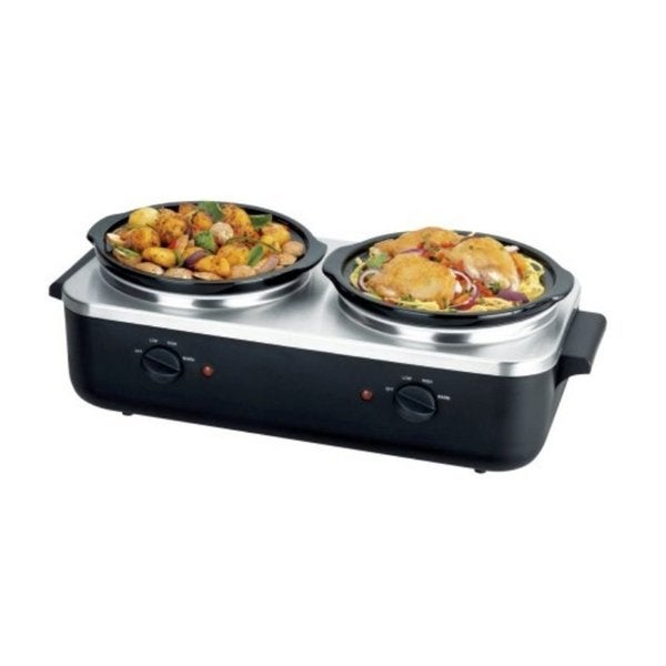 Pyle PKBFWM26 Dual Pot Electric Slow Cooker Food Warmer / Buffet Warming Server