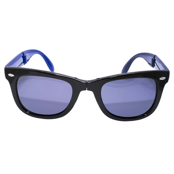 Folding Blue and Black Strip Sunglasses