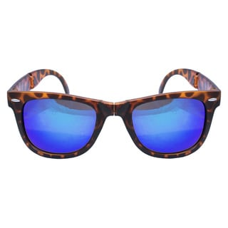 Folding Matt Brown Tiger Demi Mirror Lens Sunglasses