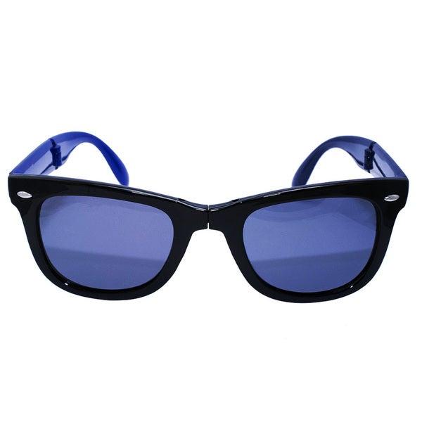 Folding Black/ Navy Blue Inside Sunglasses