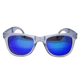 Folding Transparent Matt Silver Grey Mirror Lens Sunglasses