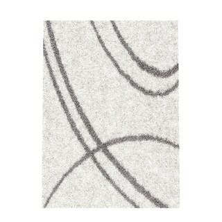 Soft Cozy Contemporary Stripe Cream White Indoor Shag Area Rug (5'3 x 7'3)