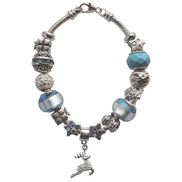 Silver Blue Christmas Sparkly Charm Bracelet
