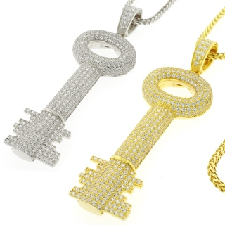 Men's Sterling Silver Cubic Zirconia Large Key Necklace