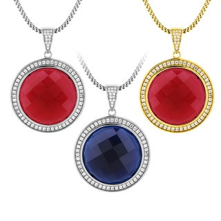 Men's Sterling Silver Round Checkerboard Cut Gemstone and Cubic Zirconia Necklace