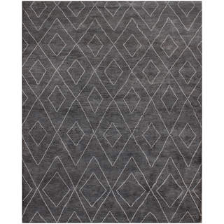ABC Accents Moroccan Beni Ourain Double Diamond Charcoal Wool Rug (9' x 12')