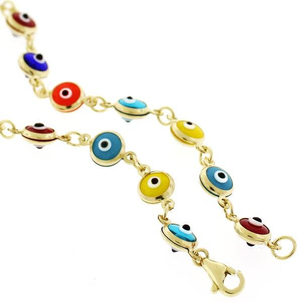 14k Yellow Gold 5.5mm Multicolor Evil Eye Good Luck Bracelet