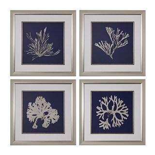 Seaweed On Navy I, II, III, IV' Fine Art Giclee Under Glass Wall Art