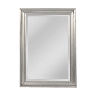Uttermost mario silver wood framed beveled mirror for Silver framed mirrors on sale