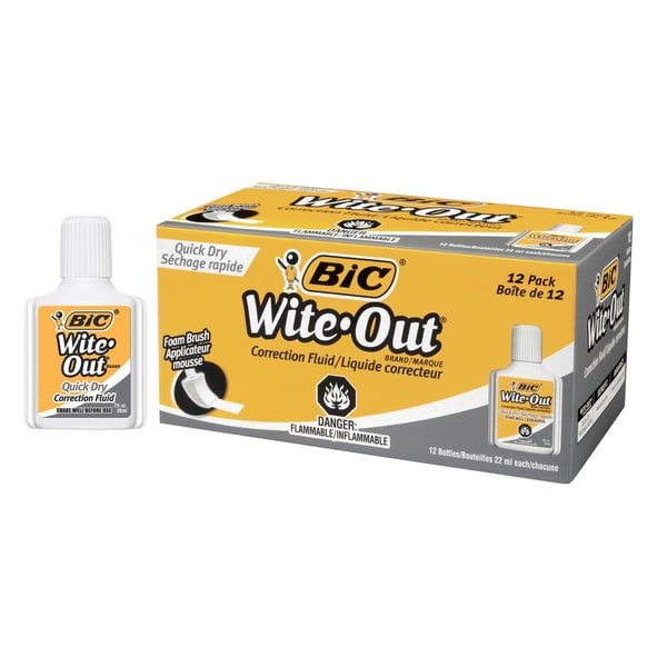 Bic Wite-Out Quick Dry Correction Fluid (12 pack)