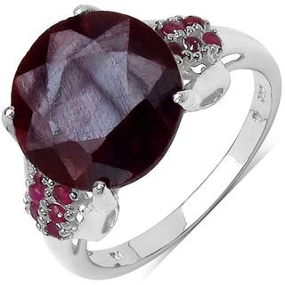 Malaika 6.36 Carat Genuine Ruby .925 Sterling Silver Ring