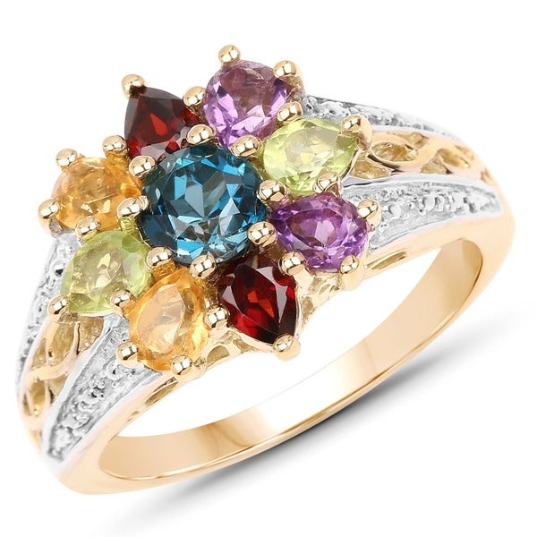 Malaika 14K Yellow Gold Plated 1.92 Carat Genuine Multi Stone .925 Sterling Silver Ring