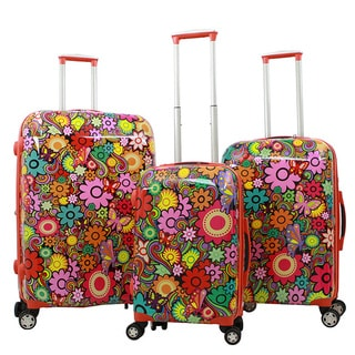 Gabbiano Industrial Chic Orange Multi-Floral 3-piece Expandable Hardside Spinner Luggage Set