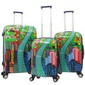Gabbiano Industrial Chic City View 3-piece Expandable Hardside Spinner Luggage Set