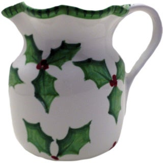 Holly Jolly Ceramic Christmas Pitcher