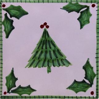 Ceramic Holly Jolly Patterned Christmas Trivet