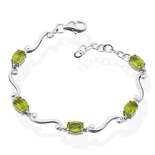 Sterling Silver Peridot 6-inch Bracelet with 1-inch Extension