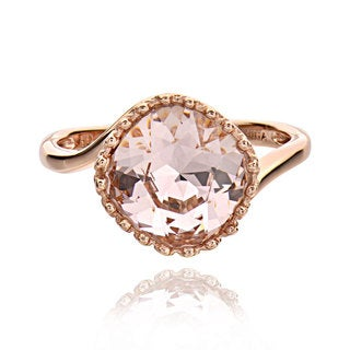 Sterling Silver Rose Gold Plated Genuine Austrian Crystal Solitaire Ring (China)