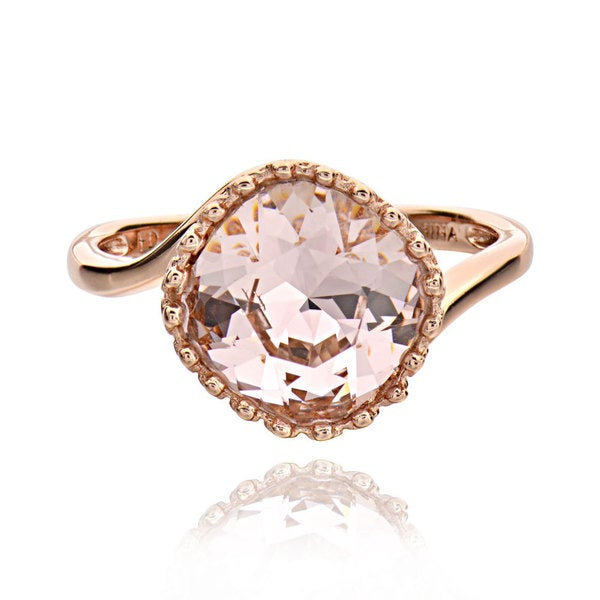 Sterling Silver Rose Gold Plated Genuine Swarovski Solitaire Ring