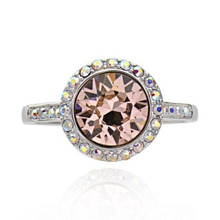 Sterling Silver Round Genuine Swarovski Elements Ring