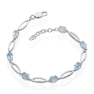Sterling Silver Blue Topaz 6.5-inch Bracelet with 1-inch Extension (China)