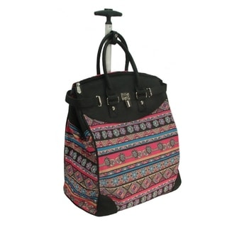 Rollies Aztec Print 14-inch Laptop Rolling Travel Tote Bag