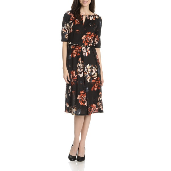 RMLL Women's Floral Printed Belted Dress