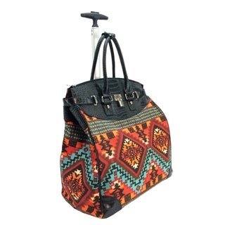 Rollies Aztec Print Rolling 14-inch Laptop Travel Tote
