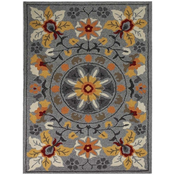 San Mateo Grey Floral Multi-purpose Rug (8' x 11')