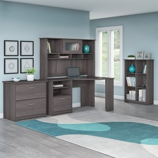 Bush Furniture Cabot Collection Corner Desk with Hutch, Lateral File and 6 Cube Bookcase