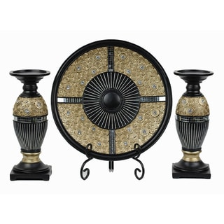 D'Lusso Designs Iris Collection Four Piece Charger with Stand and Two Candlestick Set