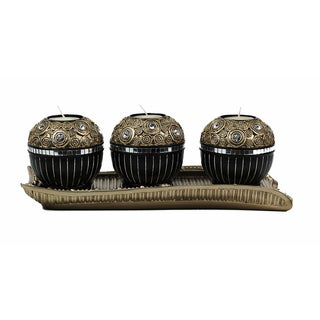 D'Lusso Designs Iris Collection Four Piece Tray with Three Orb Set