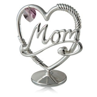 Genuine Matashi Crystals 24K Gold or Silverplated Mom in A Heart Table Top Ornament