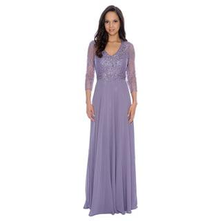 Decode Women's 1.8 Lavender Floral Accent 3/4-Length Sleeve Dress