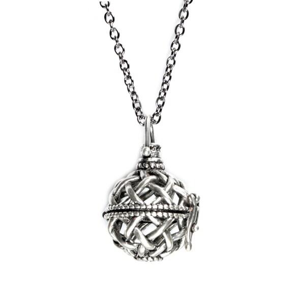Wish Locket Necklace Secret Message Pendant Antiqued Silvertone 26-inch Chain