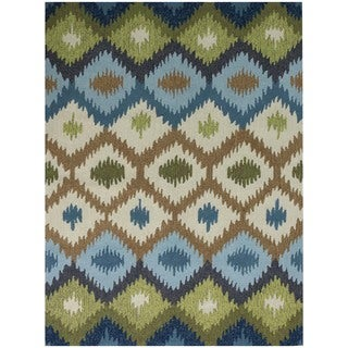 San Mateo Blue Geometric Multi-purpose Rug (7'6 x 9'6)