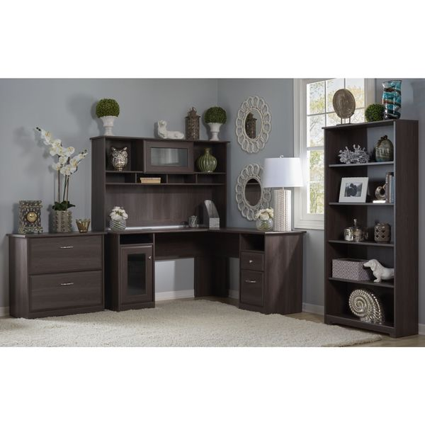 Bush Furniture Cabot Collection L Desk with Hutch Lateral