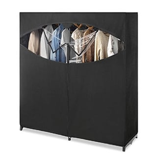 Whitmor Black Extra Wide Clothes Closet with Zippered Front Opening