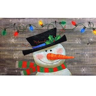 Indoor/ Outdoor Woodland Snowman Doormat (18 x 30)