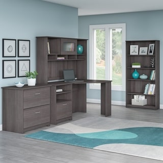 Bush Furniture Cabot Collection Corner Desk with Hutch, Lateral File and 5 Shelf Bookcase