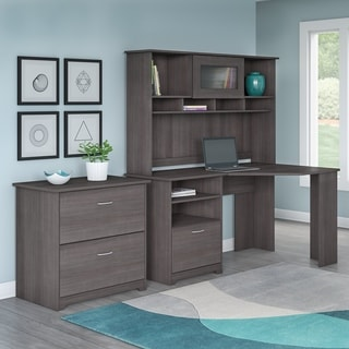 Bush Furniture Cabot Collection Corner Desk with Hutch and Lateral File