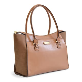 Adrienne Vittadini Vegan Leather with Suede Sides Travel Tote