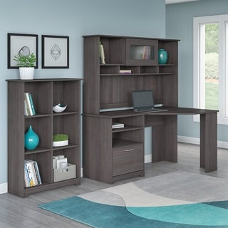 Bush Furniture Cabot Collection Corner Desk with Hutch and 6 Cube Bookcase