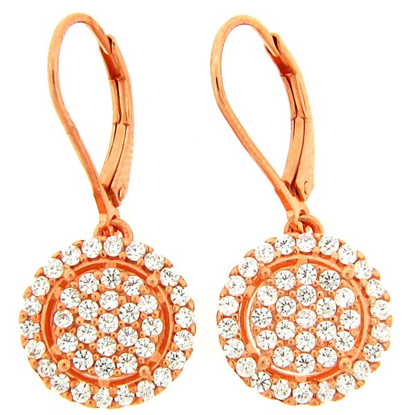 Meredith Leigh 18k Rose Goldplated Sterling Silver Cubic Zirconia Round Dangle Earrings