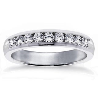 Gold or Platinum 3/4ct TDW Channel Set Round Diamond Wedding Band