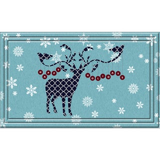 Indoor/ Outdoor Happy Holiday Deer Doormat (18 x 30)